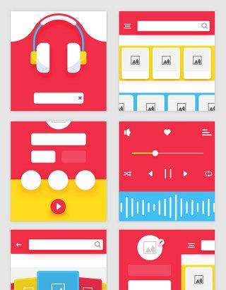 潮流音乐分享APP界面UI设计模版素材