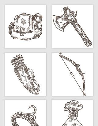 背包双肩包斧子射箭锦囊手绘插画矢量图形