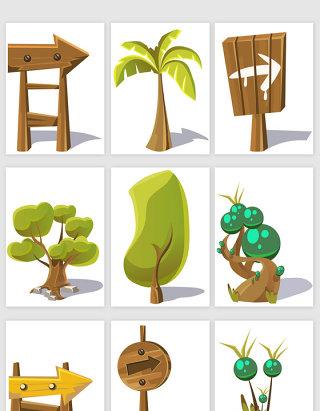 卡通风格树木指示牌矢量元素