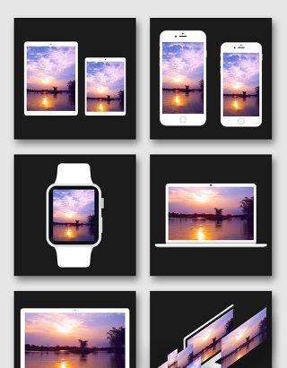 白色系列苹果智能电子设备模型贴图样机