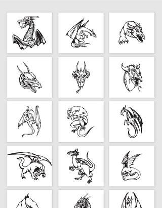 矢量手绘线描古代龙素材