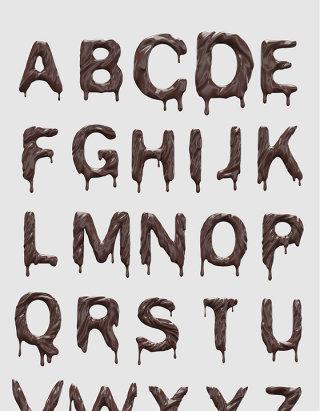 高分辨率的3D巧克力刻字字母设计素材