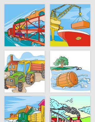卡通运动交通工具矢量素材