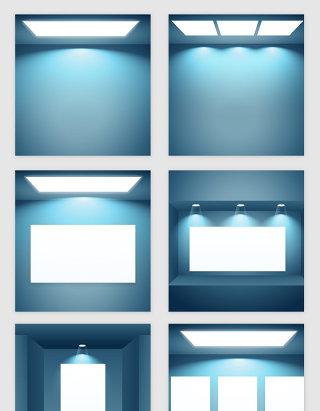 浅蓝空房子灯光模型矢量素材