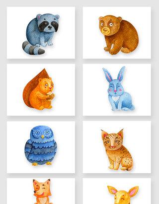 水彩手绘可爱小动物卡通素材