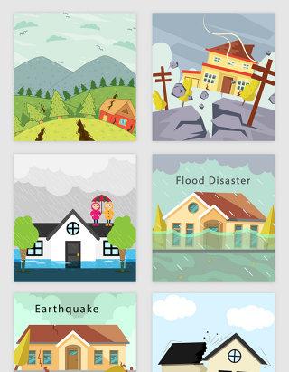 自然灾害地震场景矢量素材