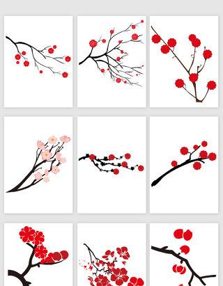 红色梅花树枝矢量素材