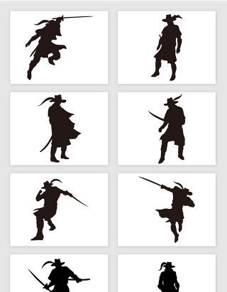 法国骑士兵武斗持剑人物剪影插画矢量图形