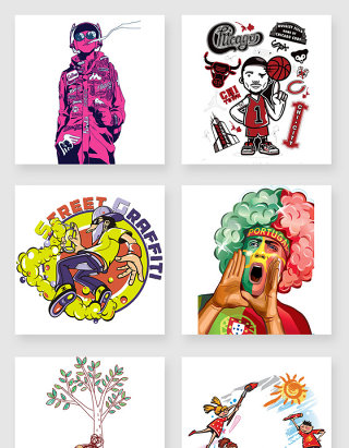 卡通彩色涂鸦设计素材