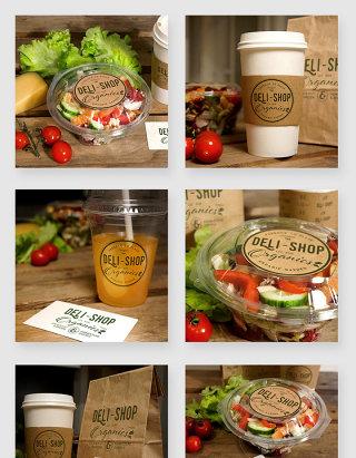 蔬菜沙拉咖啡果汁美食包装贴图样机素材