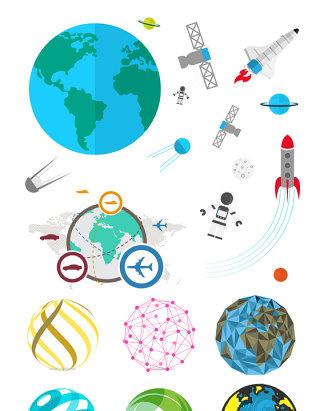 创意地球太空元素矢量设计素材