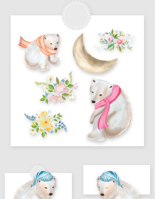水彩手绘可爱小熊花卉PNG素材