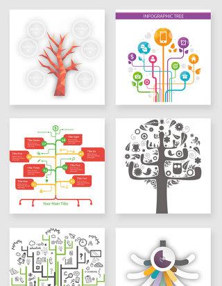 不规则图形树状图设计素材