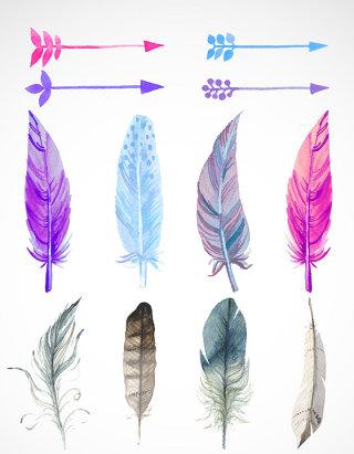 彩色羽毛矢量图标图形
