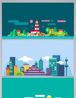 矢量手绘卡通城市展板背景