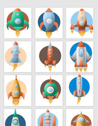 多款扁平化彩色卡通火箭飞船素材