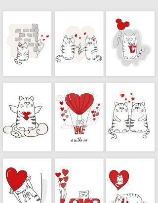 手绘卡通猫咪情人节矢量素材