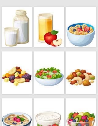 美味水果蔬菜沙拉果汁矢量元素