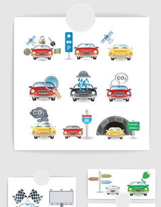 汽车加油洗车维修元素图标素材