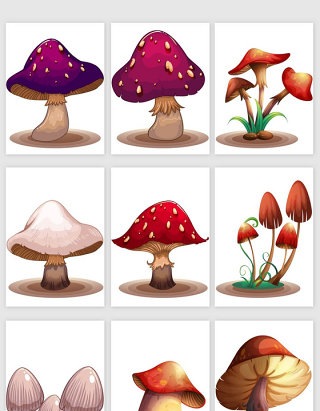 卡通手绘蘑菇矢量元素