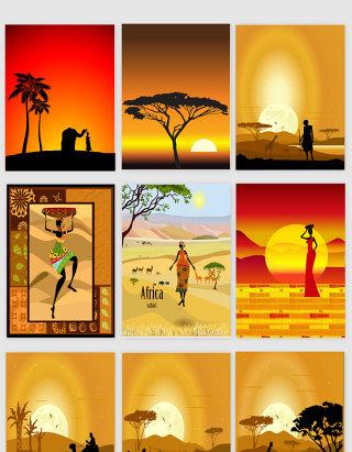 非洲文化剪影素材