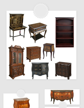 高清免抠复古老旧家具橱柜