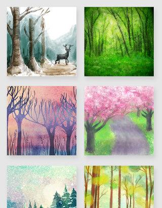 手绘水彩水墨森林大自然风景插画素材