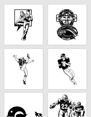 矢量黑白卡通橄榄球运动员剪影插画