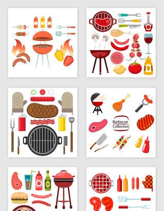 卡通漂亮BBQ烧烤设计素材