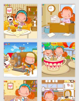 矢量卡通可爱女孩日常生活插画
