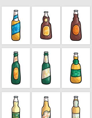 手绘啤酒瓶子矢量素材