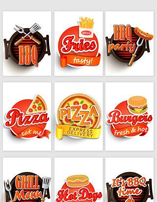 美食卡通标题框矢量素材