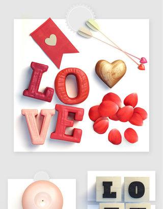 LOVE爱情浪漫玫瑰花瓣天使箭蜡烛实物图