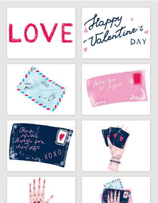 浪漫粉色彩绘LOVE信封插画矢量图形