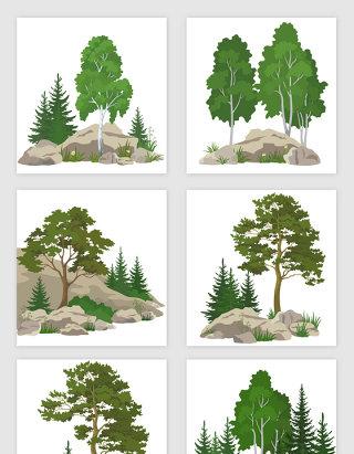 山林树木石头组合矢量素材