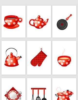 红色厨房用具素材