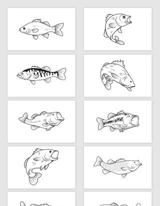 矢量手绘线描素描鱼