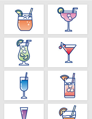 彩色素描果汁饮料矢量图形