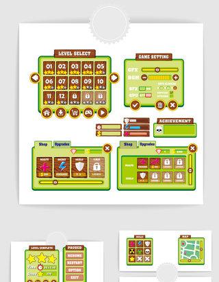手绘卡通网络游戏界面UI设计素材