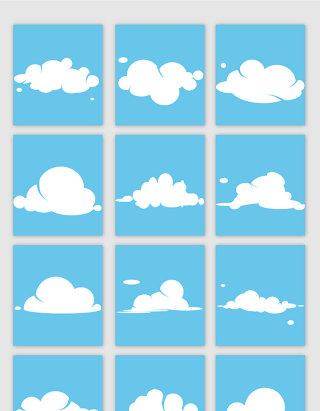 卡通风格云朵矢量素材