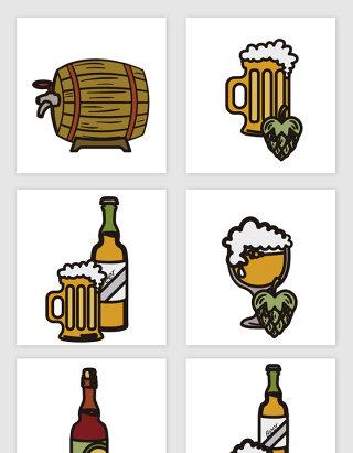 啤酒相关设计素材手绘