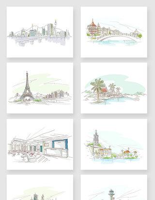 线条手绘建筑风景插画元素素材