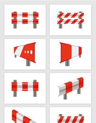 交通工具高速公路红白条铁皮防护栏矢量图形