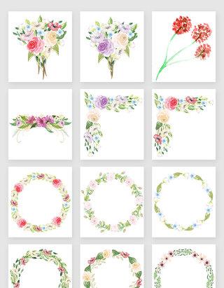 水彩花环花束植物素材