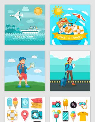 矢量卡通手绘旅游设计素材