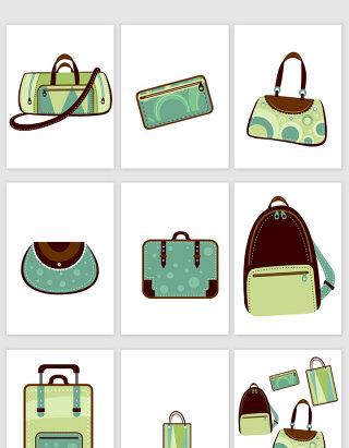 绿色包包元素矢量图.