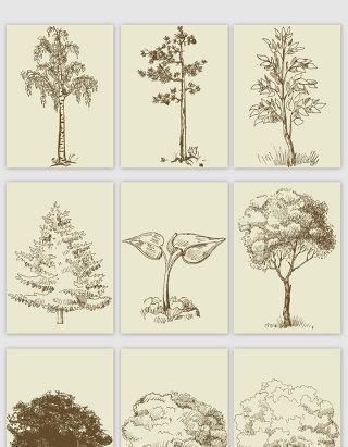 手绘线描风格大树矢量素材