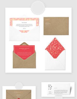 信封邀请函卡片贺卡贴图样机PSD素材