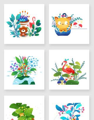 绿色植物可爱动物素材