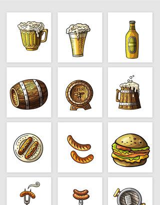 手绘啤酒烧烤矢量设计